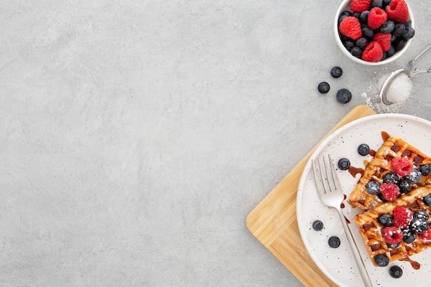 Вид сверху вкусные сладкие вафли