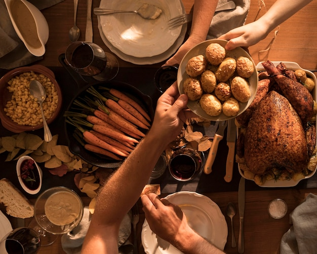 Top view of delicious thanksgiving meal