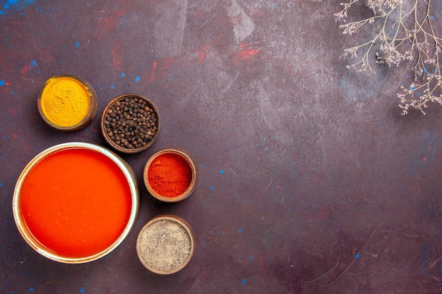 Vista dall'alto deliziosa zuppa di pomodoro cucinata con pomodori freschi con condimenti su fondo scuro salsa di pomodoro piatto di zuppa