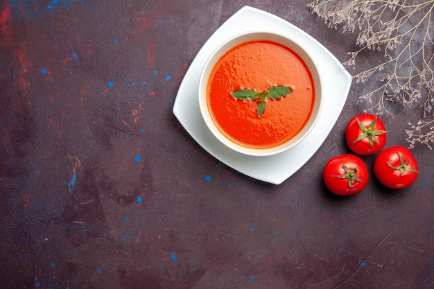 Top view delicious tomato soup tasty dish with single leaf inside plate on a dark background dish sauce tomato color soup meal