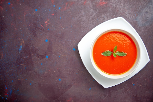 Top view delicious tomato soup tasty dish with single leaf inside plate on a dark background dish sauce tomato color soup