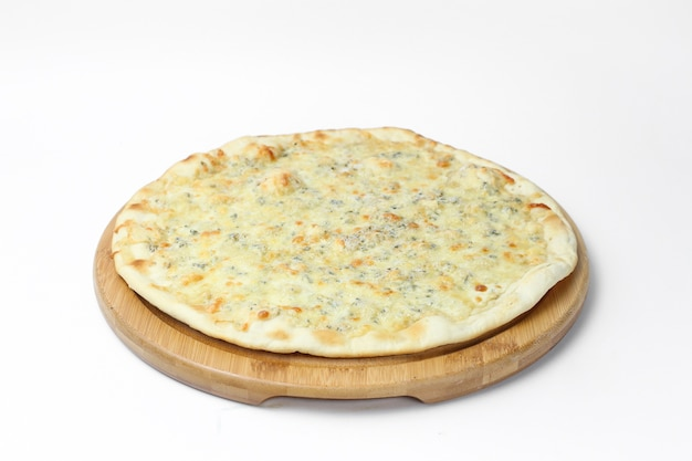 Top view of a delicious vegetarian pizza isolated