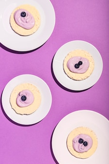 Vista dall'alto del delizioso concetto di yogurt