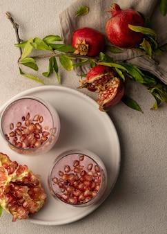 Top view of delicious yogurt with pomegranate