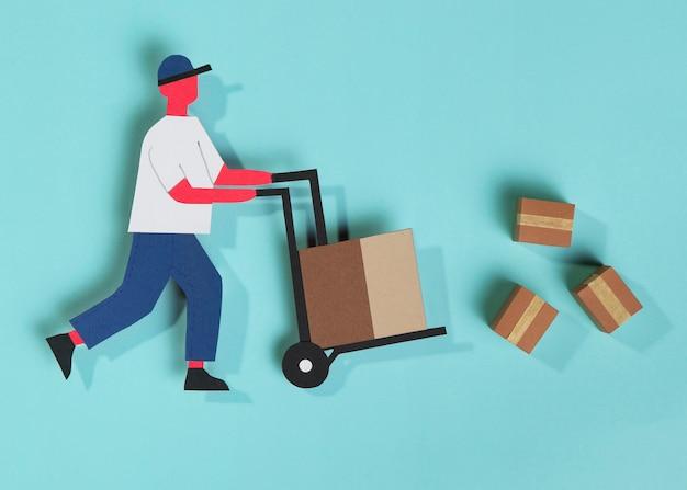 Uomo di consegna vista dall'alto che trasporta il carrello di consegna