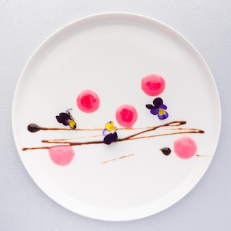 Top view dessert plating
