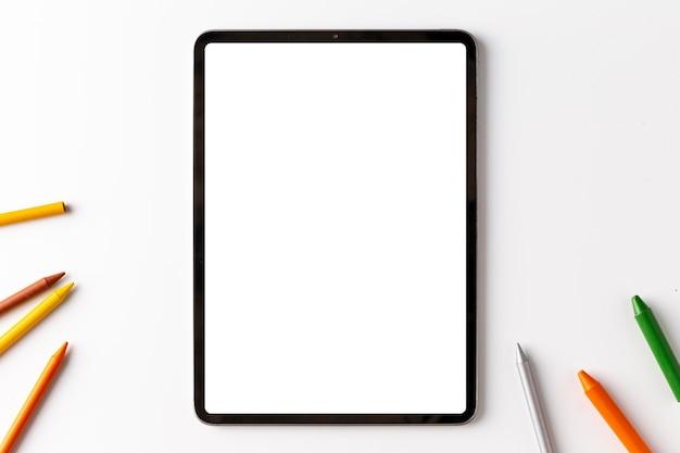 Concetto di dispositivo vista dall'alto con spazio di copia