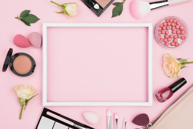 Top view different beauty products composition with empty