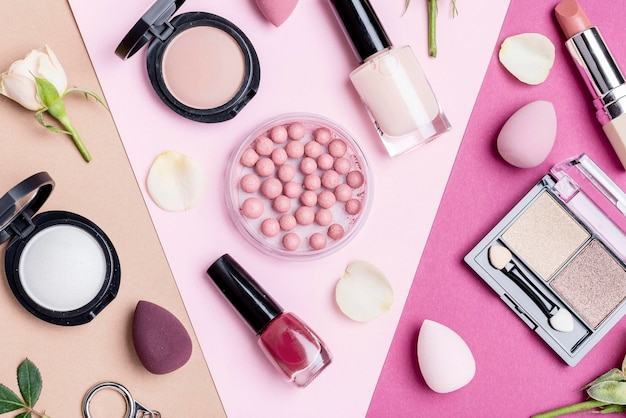 Top view different beauty products composition