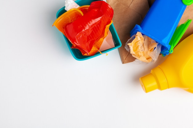 Top view of different garbage materials with recycling