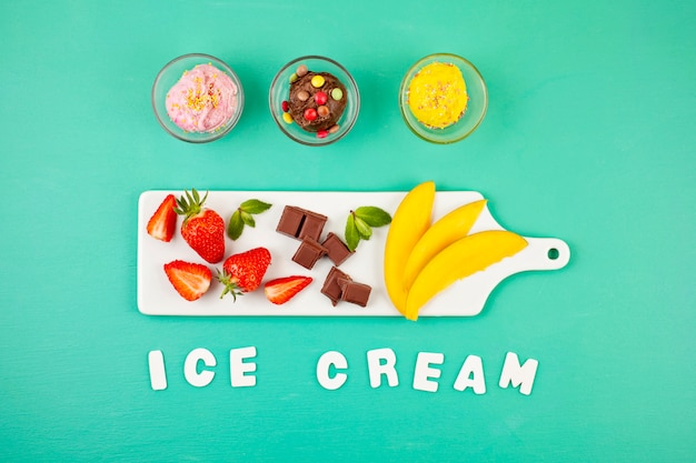 Top view of different ice cream with the ingredients