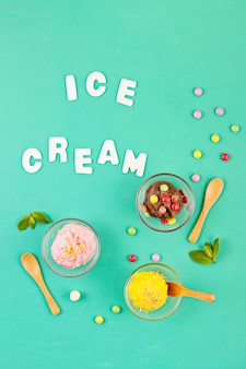 Top view of different ice cream with topping