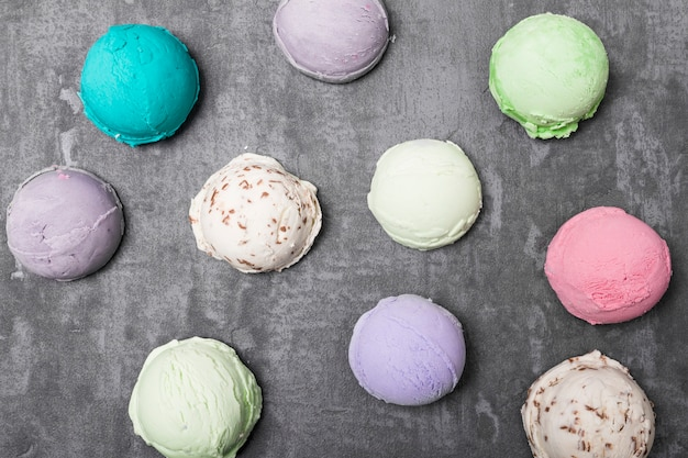 Top view different types of ice cream
