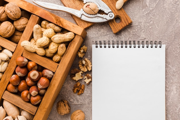 Top view different types of nuts