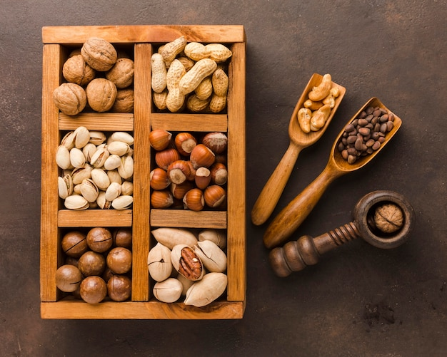 Вид сверху разных видов орехов