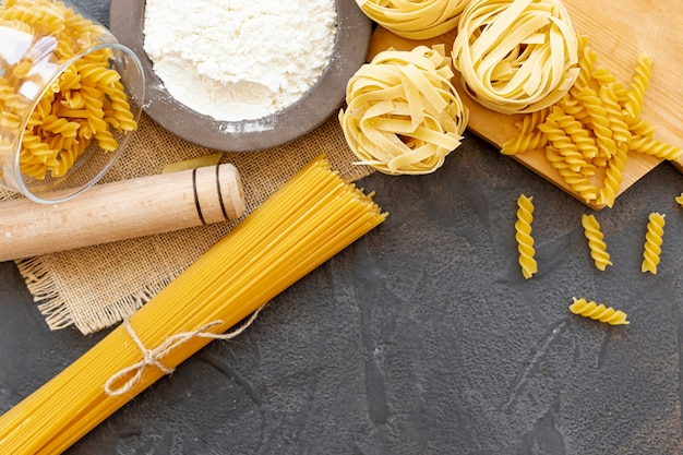 Top view of different types of pasta