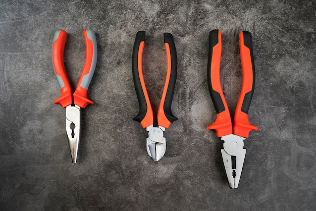 Top view different types of pliers
