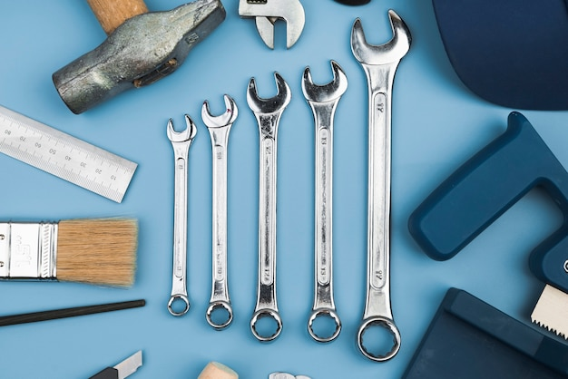 Top view different types of tools