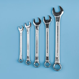 Top view different types of wrenches