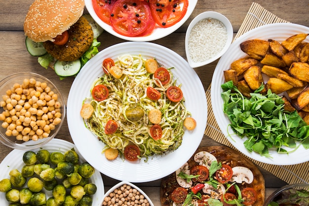 Top view different vegan dishes