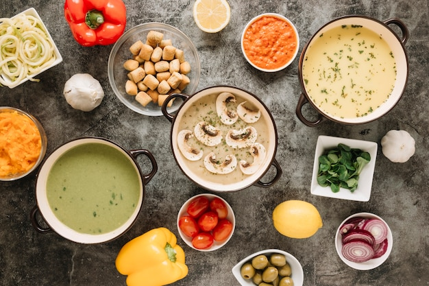 Top view of dishes with mushrooms and soups