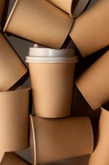 Top view disposable cups arrangement