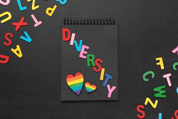 黒いメモ帳のトップビュー多様性単語