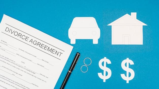 Top view divorce agreement with pen
