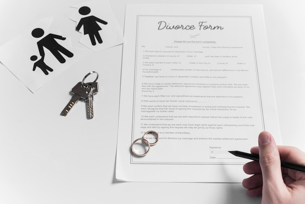 Top view divorce form with wedding rings