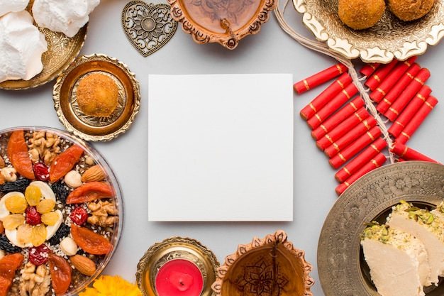 Top view of diwali concept with copy space