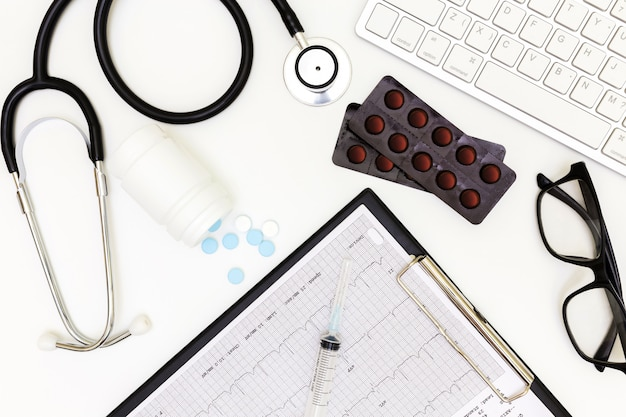 Top view of doctor's desk table