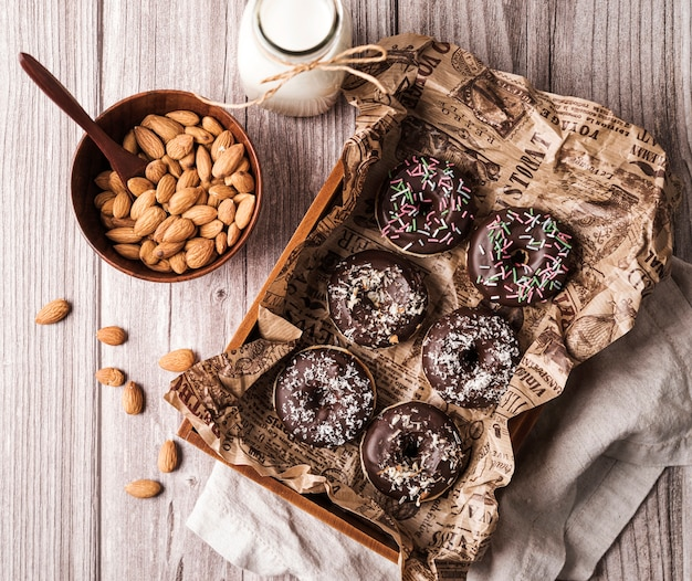 Top view donuts with frosting