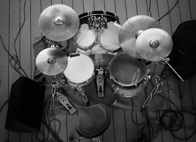 Top view of drum set