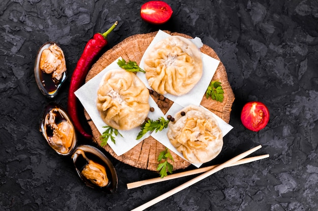 Top view  dumplings on wooden board