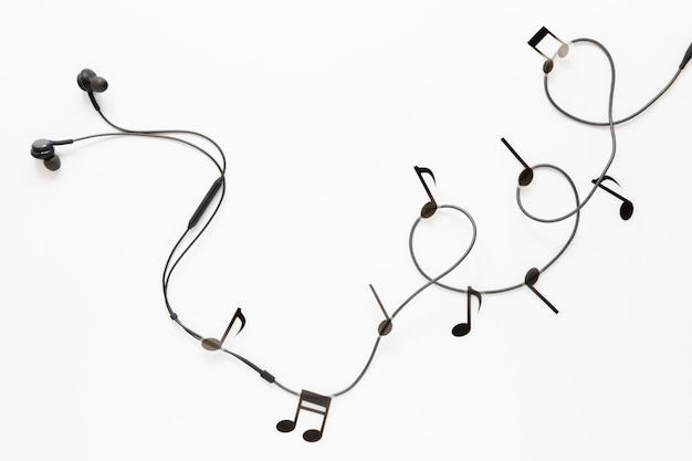 Top view earbuds with musical notes