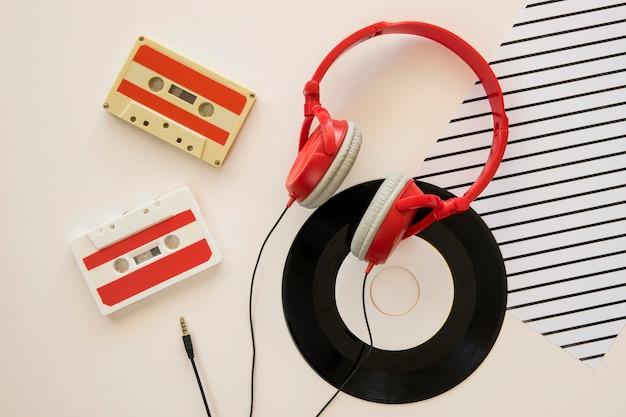 Top view of earphones music concept