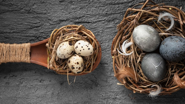 Top view of easter eggs in bird nest made of twigs and wooden spoon