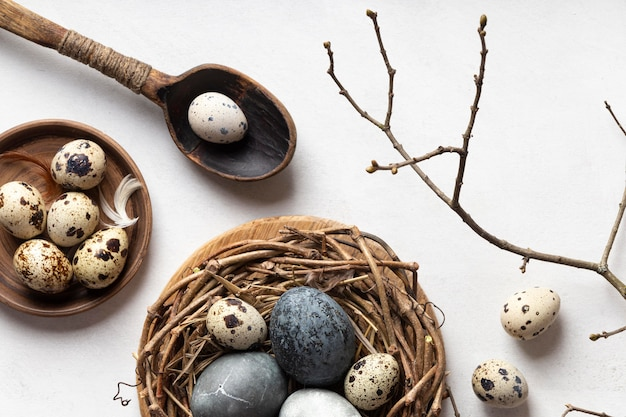 Top view of easter eggs in bird nest with twig and wooden spoon