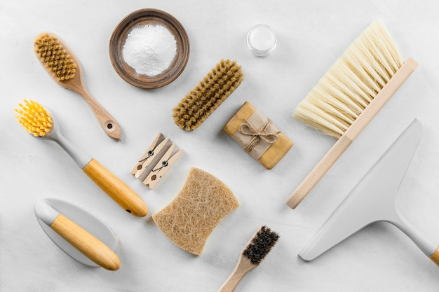 Top view of eco cleaning brushes with soap