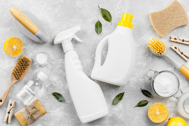 Top view of eco-friendly cleaning products with baking soda and lemon