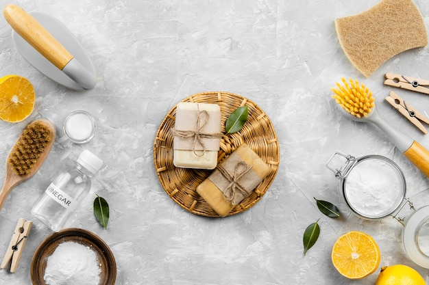 Top view of eco-friendly cleaning products with soaps