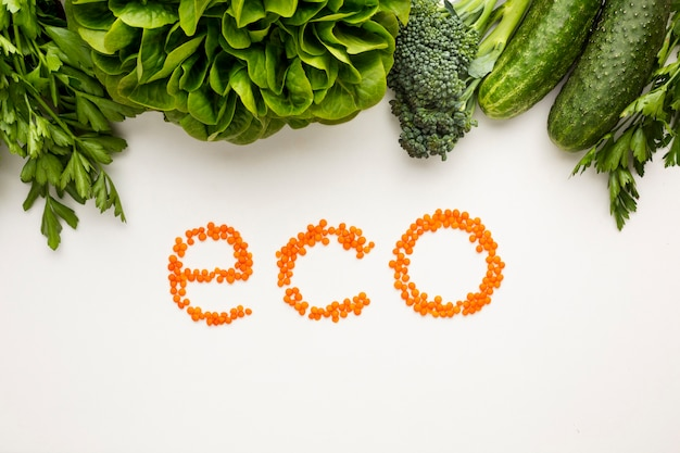 Top view eco lettering on white background