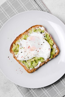 Top view of egg with avocado toast on plate