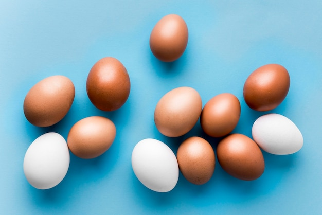 Top view eggs on blue background