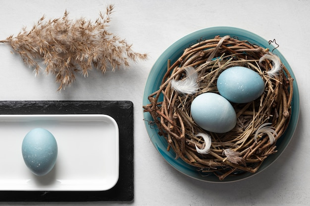 Top view of eggs for easter with bird nest and plate