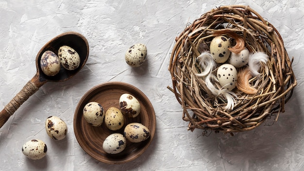 Top view of eggs for easter with bird nest