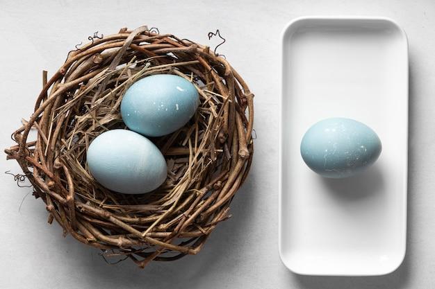 Vista dall'alto di uova di pasqua con nido di ramoscelli e piastra