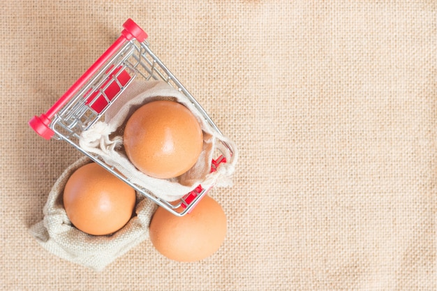 Top view eggs in red cart