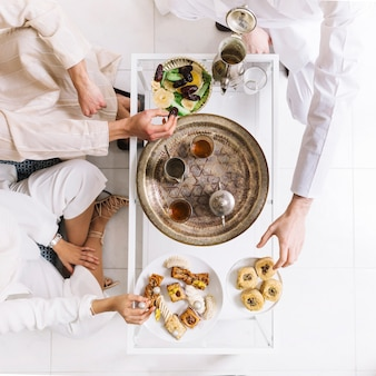 Top view eid al-fitr concept with tea