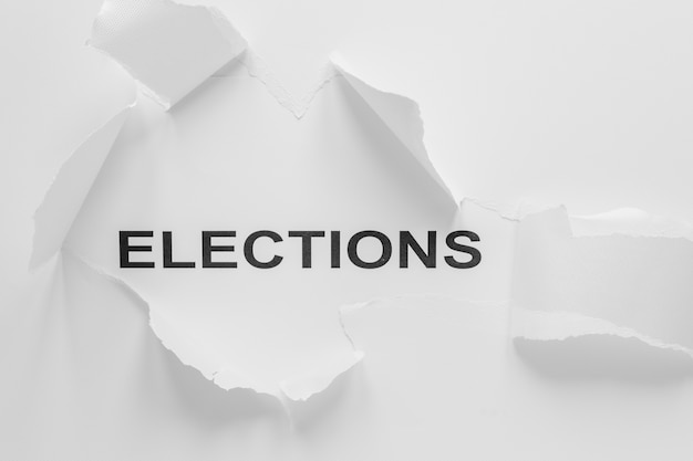 Top view of elections concept with copy space